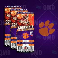 Clemson Tigers Sports Party Invitation by #sportsinvites