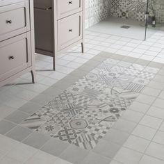 Des carreaux de ciment en guise de tapis de salle de bains