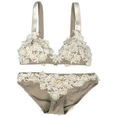 OSCAR DE LA RENTA Bridal Size M Taupe & Creame Lace Applique Lingerie Set