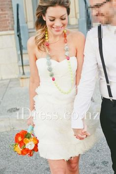 Strapless Sweetheart Ruched Bodice Tulle Ruffled Short Wedding Dress