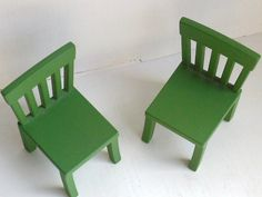 Miniature Green Chairs -- vintage Angelina Ballerina doll  furniture for Sylvanian Families maple town forest families kitchen. $6.00, via Etsy.