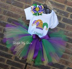 Mardi Gras Jester Hat Tutu Outfit, My First Mardi Gras Outfit, Mardi Gras Pageant Outfit