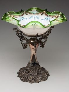 Victorian:  #Victorian decorated bride's bowl on stand. At an English wedding, money was put into this bowl to pay for the bride and groom's honeymoon.
