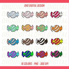 Colors candy Clip art, illustrations PNG, Planner Stickers Commercial Use by OHODIGITAL on Etsy
