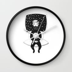 Burning Man Wall Clock.  People got fuel too. Some are driven by enthusiasm, some by own ego. Insomnia is what drives me  #Art #Print #sketch #artwork #karmanverdi #tattoo #dotwork #shop #beard #idea #tshirt #sociaty6 #clock #space #rain #black #white