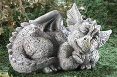 Mythical Sleeping Baby Dragon Garden Sculpture