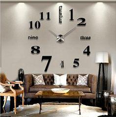 Modern Mute DIY Frameless Large Wall Clock 3d Mirror Sticker Metal Big Watches Home Office Decorations (Black)