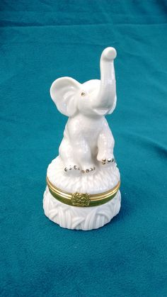 "Lenox ""Trunk Full of Wishes"" porcelain elephant  with gold trim by…"