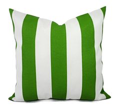 Two indoor outdoor pillow covers in a gorgeous striped print in bay green
