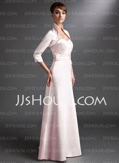 Sheath Sweetheart Floor-Length Satin Mother of the Bride Dress With Ruffle Beading (008006237) - JJsHouse