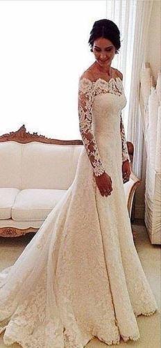 Vestido de boda Sexy corte sirena con encaje manga larga con tren de Novia Personalizado Talla