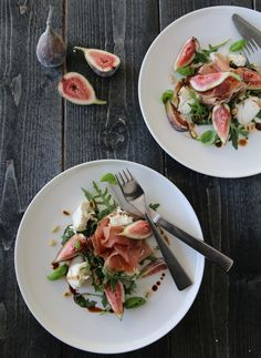 Salat med Tind spekeskinke, fiken og mozzarella Mozzarella, Lunch Time, Food Photography, Salads, Dinner Recipes, Yummy Food, Snacks, Drinks, Tips
