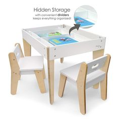 Our Smartest Table and Chair Set! Loaded with Style and Functionality. This beautiful little table may just have it all! Versatile and abundant storage, child-driven design features, style and ease of use. The reversible table top has chalkboard on one side and beautiful natural wood on the other.