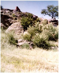 Pawnee Rock on Santa Fe Trail. To travelers on the Santa Fe Trail, this sandstone citadel marked the halfway point of the trail and was one of the most prominent landmarks on their long journey.