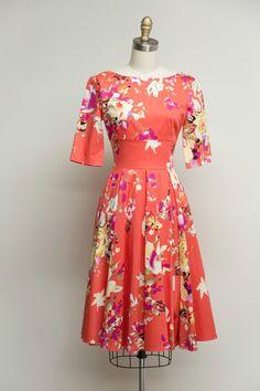 Hepburn Dress in Coral Seville