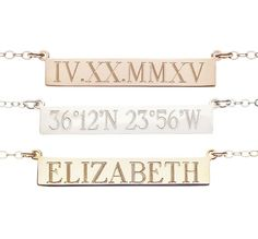 Personalize this SOLID GOLD petite classic bar with a meaningful name, initials, date, roman numerals, coordinates or anything else that is close to