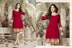 Superb Designer Ready to Wear Georgette Kurti with linning  in Red color with beautiful Thread Embroidery .  Available in S,M,L, XL size.