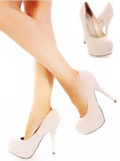 Shoehorne Dash-2 - Womens Nude/Cream Faux Suede High Heel Stiletto Round Toe Court Shoes - Avail in Size 3 - 8 UK