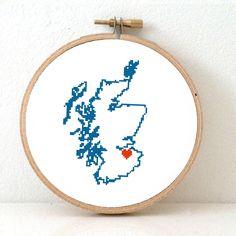 Scotland Map Cross Stitch Pattern. Destination wedding gift. Scotland travel souvenir with Edinburgh. UK ornament pattern. Designed by Studio Koekoek and available at www.studio-koekoek.com