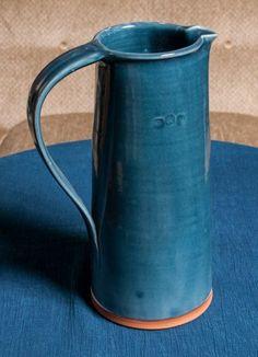 Large Blue Stoneware Pitcher