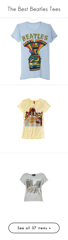 """The Best Beatles Tees"" by joots ❤ liked on Polyvore featuring tops, t-shirts, shirts, tees, graphic tees, blue top, graphic print top, graphic design tees, t shirts and h&m"