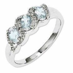 Oval Aquamarine and Diamond Accent Three Stone Ring in Sterling Silver - Size 7 | Aquamarine March Birthstone | Birthstones | Collections | Zales Pink Ring, Three Stone Rings, Diamond Stone, Aquamarine Stone, Diamond Rings, Sea Glass Jewelry, Sterling Silver Necklaces, Silver Rings, Fashion Rings