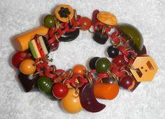Vintage Bakelite Charm Bracelet w/ 35 Charms Total