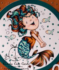 Copic markers, Spectrum Noir markers, crafty sentiments designs, coloring, rubber stamps, mermaid, orange and green color combination