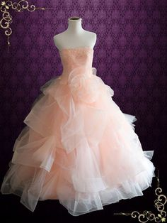 Strapless Peach Blush Colored Lace Ball Gown Wedding Dress | Fae