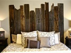 DIY Salvaged Barn Wood Headboad  Love how raw this one looks