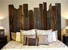 DIY Salvaged Barn Wood Headboard