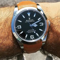 @watch.dude posted the great shot of his Explorer I one a beautiful Everest Tan Leather Strap. Find the the right strap for your Rolex at www.everestbands.com