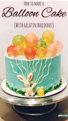 How to make a cute balloon cake with gelatin bubbles! Cake Decorating Frosting, Cake Decorating Designs, Creative Cake Decorating, Cake Decorating Videos, Birthday Cake Decorating, Cake Decorating Techniques, Creative Cakes, Cookie Decorating, Easy Cake Designs