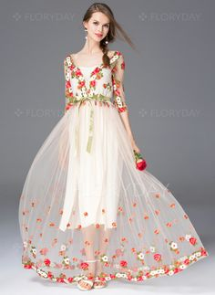 Dresses - $97.97 - Polyester Floral Half Sleeve Maxi Casual Dresses (1955098877)