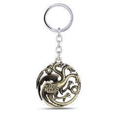 New Arrive Game of Thrones House Targaryen Pendant Keychain, Fire and Blood Dragon Game of throne Vintage Three Colors Jewelry