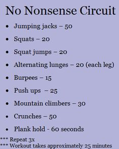 Circuit (~25 minutes) - jumping jacks, squats, squat jumps, lunges, burpees, push ups, mountain climbers, crunches, plank