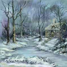 """Christmas Cottage - iPad painting - painted on my 12"""" iPad Pro with an iPencil, in the app Procreate"""