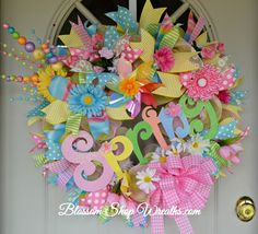 Spring Wreath, Deco Mesh Wreath, Spring Deco Mesh, Spring Decor, Door Wreath, Spring Door Wreath, Spring Floral Wreath, Daisy Wreath by BlossomShopWreaths on Etsy