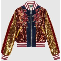 Gucci Embroidered Sequin And Velvet Bomber ($8,500) ❤ liked on Polyvore featuring outerwear, jackets, oversized bomber jacket, sequin bomber jacket, flower bomber jacket, oversized jacket and floral bomber jacket