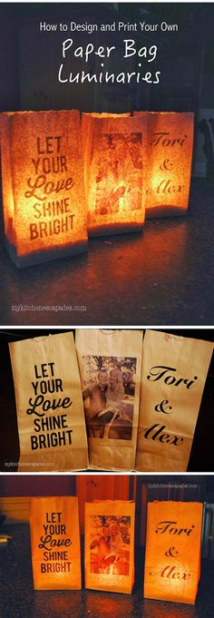 DIY :: CUSTOMIZABLE PAPER LUMINARIES - Safty tip : Use LED tea light ( http://www.mykitchenescapades.com/2013/11/customizable-paper-luminaries.html?m=1 )