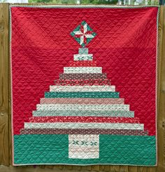 Christmas Tree strip quilt by Judith at Needles and Lemons