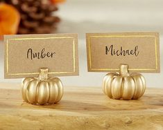 gold pumpkin place cards, Autumn Etsy Wedding Finds I know you'll think they're stupid-tacky, but the gold/champagne/platinum colors would be beautiful  pops of color on the white table cloths and overlays. :D