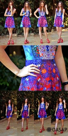 Vintage Floral Illusion V Neck Skater Dress - OASAP.com