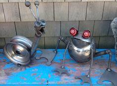 recycled metal art recycl metal, frog, garden art, yard art, recycled metal art, snail