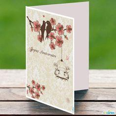 Carte anniversaire à imprimer - Oiseaux sur une branche