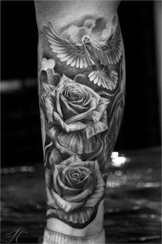 Bloom_Noahminuskin Dove Tattoos, Black Tattoos, Badass Tattoos, Tattoos For Guys, Tattoo Sleeve Designs, Sleeve Tattoos, Forearm Tattoos, Body Art Tattoos, Hals Tattoo Mann