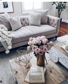 Look at that muted lilac-gray colored couch.