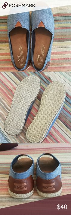 Toms shoes! Chambray blue open toe Tom's. These are brand new. Never worn. Only tried on. So cute! Toms Shoes Espadrilles
