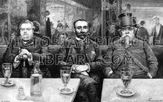 French Cafe. Beautifully drawn Victorian illustration to download showing a picture of three men in a Paris cafe, the Cafe du Helder,  smoking and drinking absinthe. They sit on an upholstered bench with a mirror behind them; on the marble tables stand their glasses of absinthe and a carafe of water. Download high quality jpeg for just £5. Perfect for framing, logos, letterheads, and greetings cards.