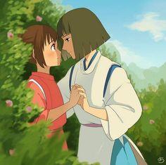 Chihiro e Haku Studio ghibli Studio Ghibli Films, Art Studio Ghibli, Hayao Miyazaki, Chihiro Cosplay, Spirited Away Haku, Chihiro Y Haku, Film Manga, Studio Ghibli Spirited Away, Japon Illustration